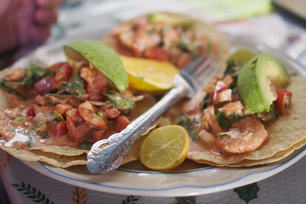 Tostadas mit frischen Shrimps und Avocado